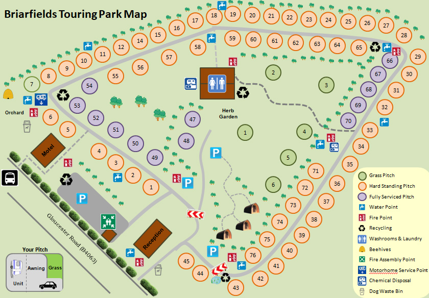 Briarfields Touring Park Map